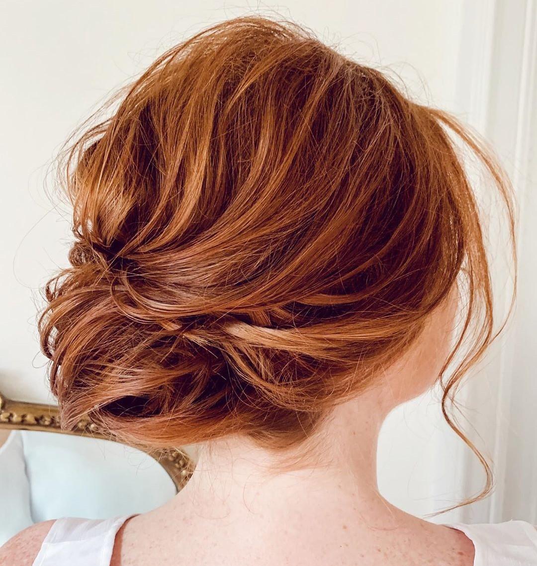 Messy Low Bum for Auburn Hair
