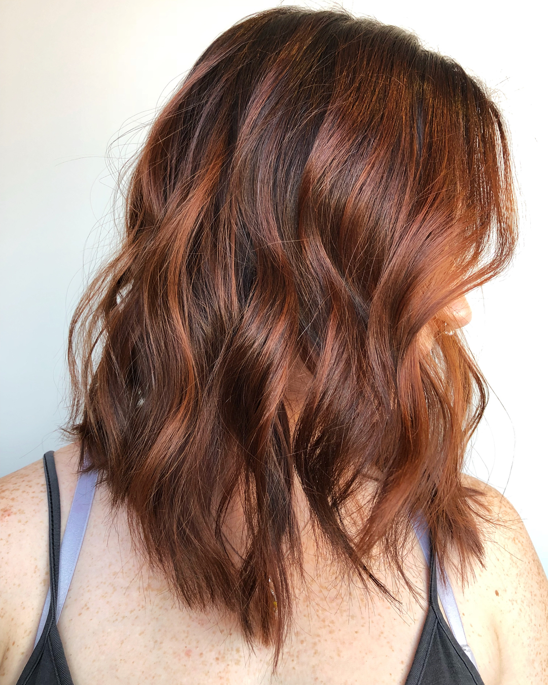 Brunette Hair with Copper Balayage