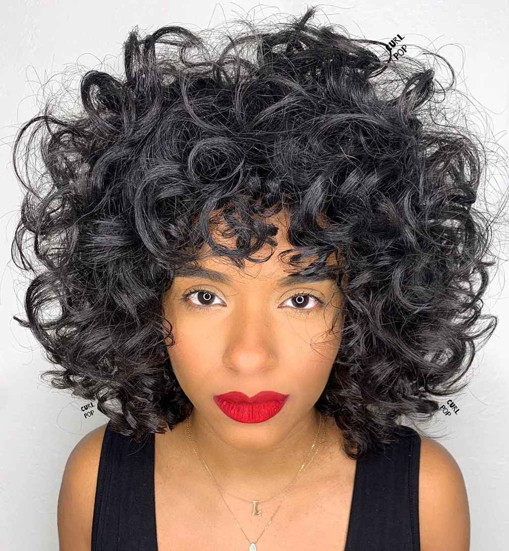 Medium Curly Cut with Bangs
