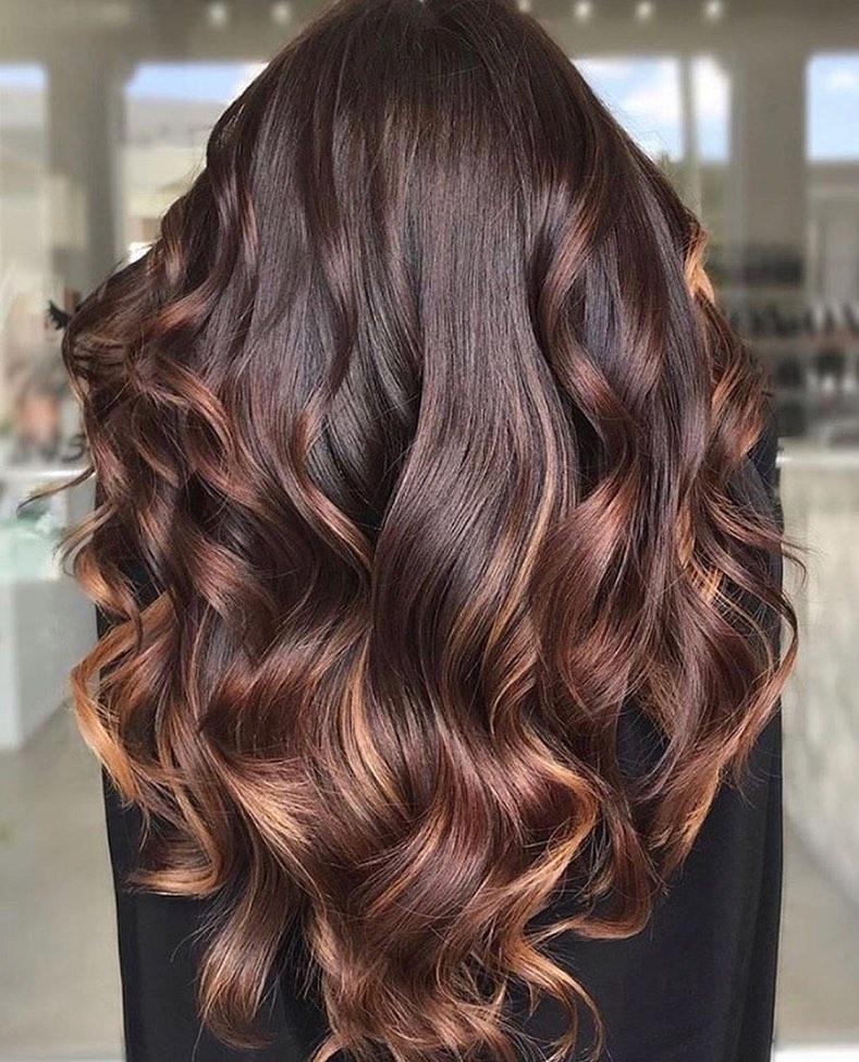 Dark Brown Hair with Chestnut Balayage
