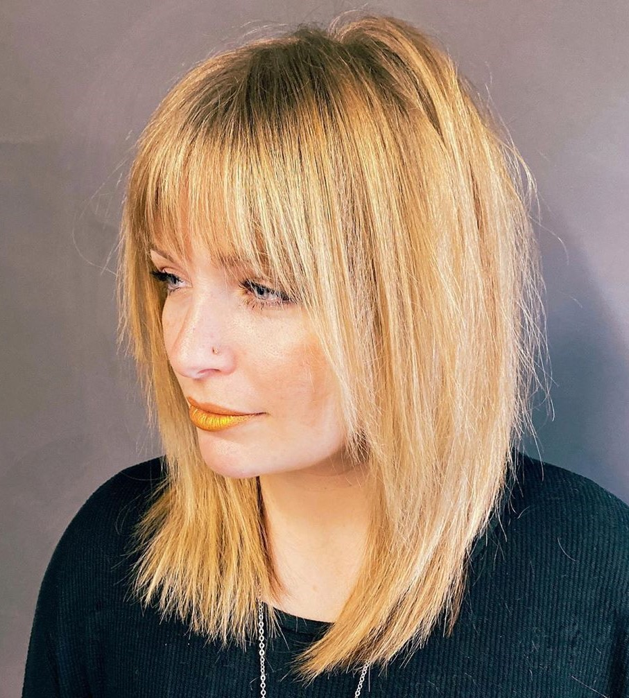 Medium Shag with Bangs for a Long Face