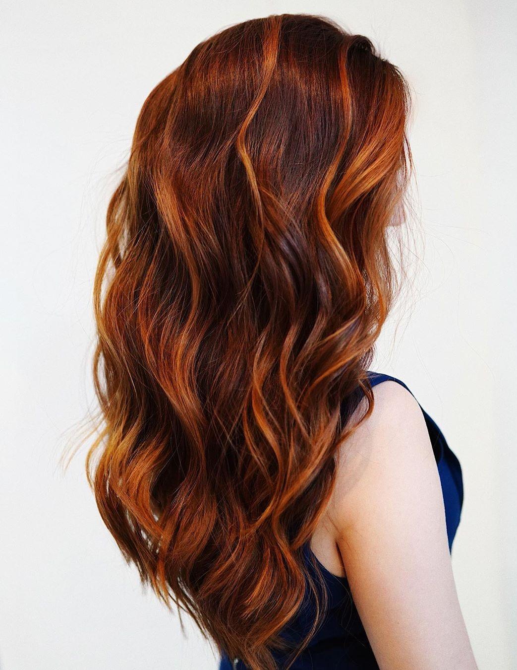 Deep Auburn Hair with Bright Highlights