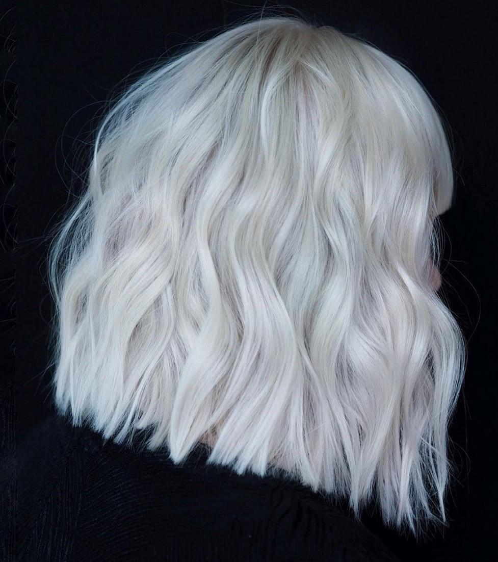 Wavy White Blonde Lob