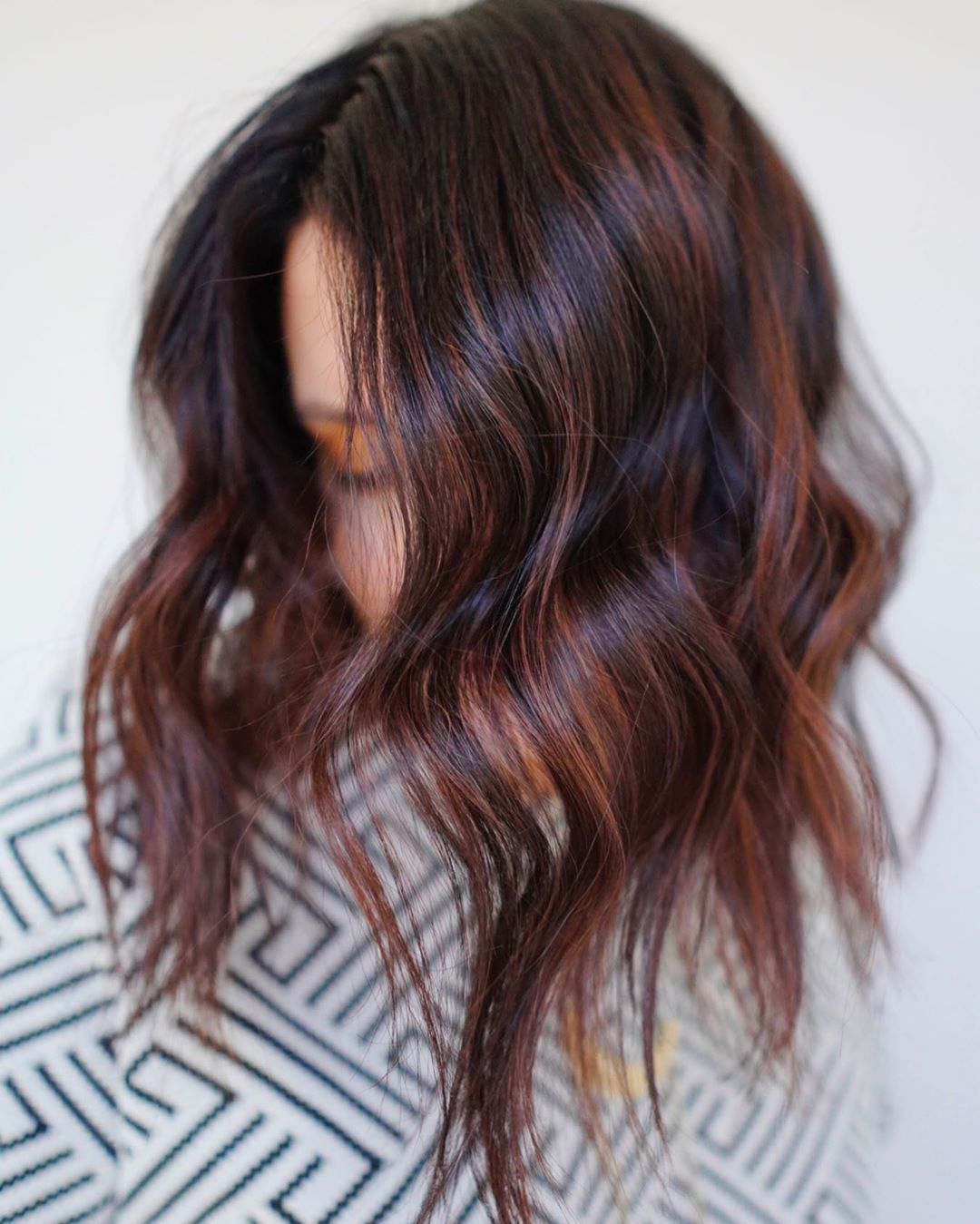 Deep Brown Hair with Red Highlights