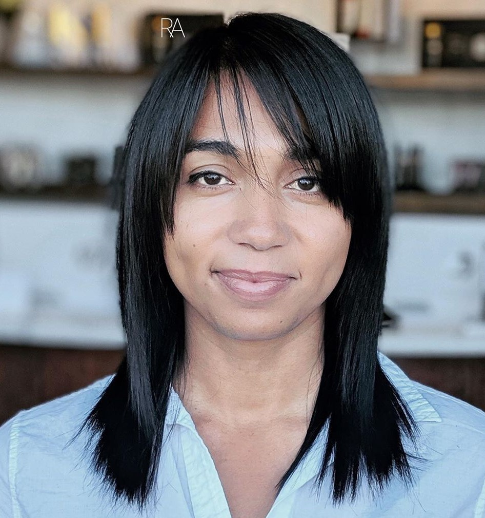 Medium-Length Haircut with Bangs for Straight Hair