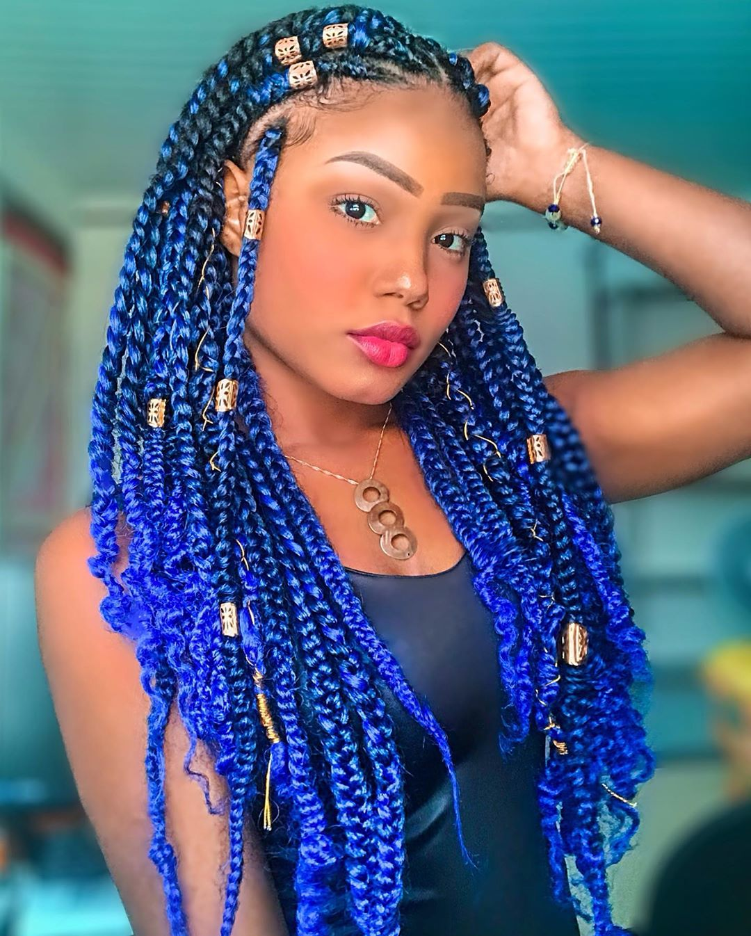 Layered Box Braids with Beads