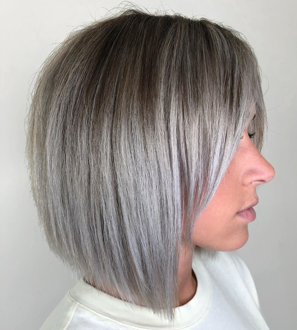 Short Silver Balayage with Dark Roots