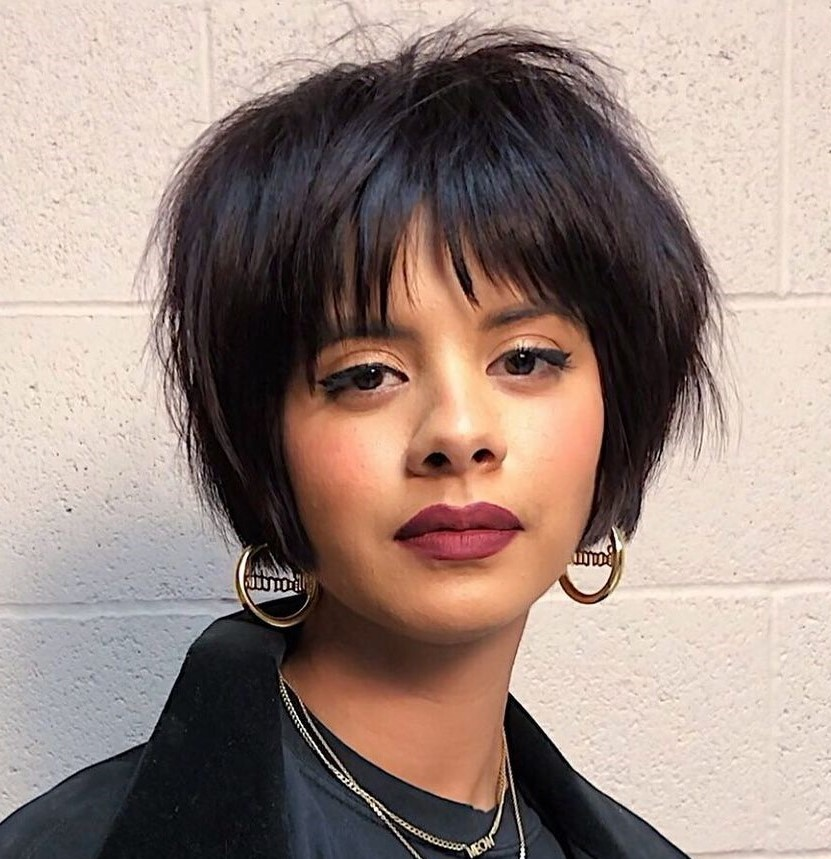 Short Grungy Bob with Wispy Bangs
