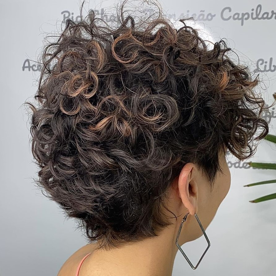 Short Curly Haircut with Undercut