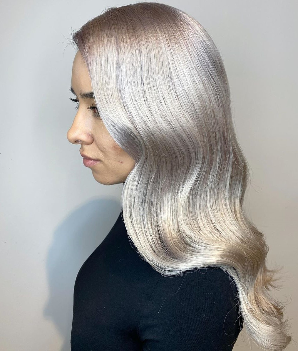 Shiny Silver White Balayage