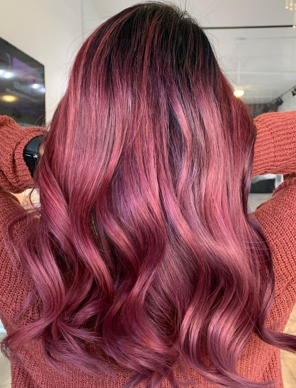 Red Wine Hair with Rose Gold Highlights