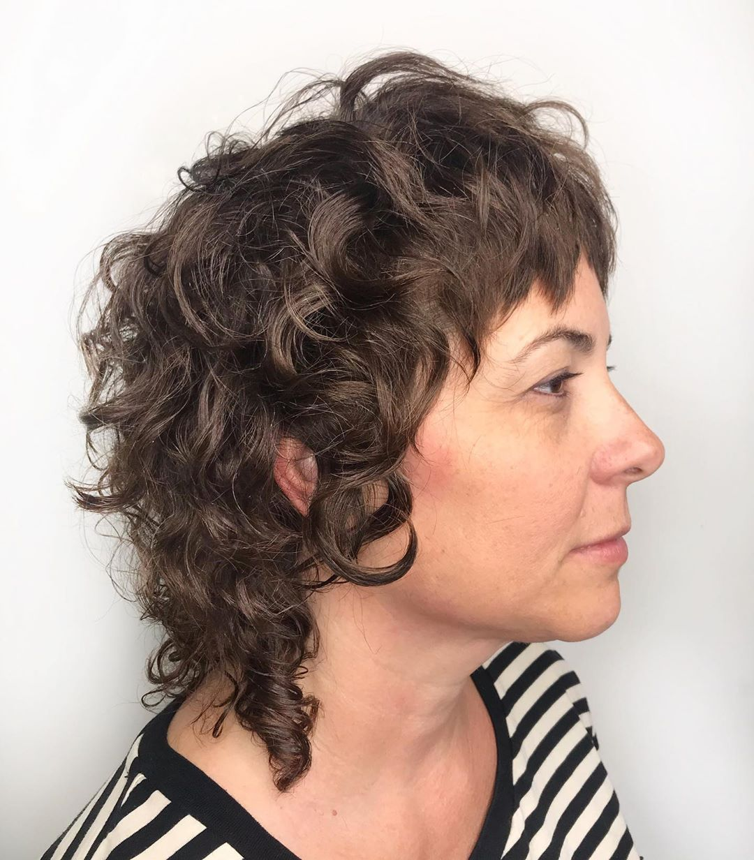 Short Curled Shag with a Cropped Bang