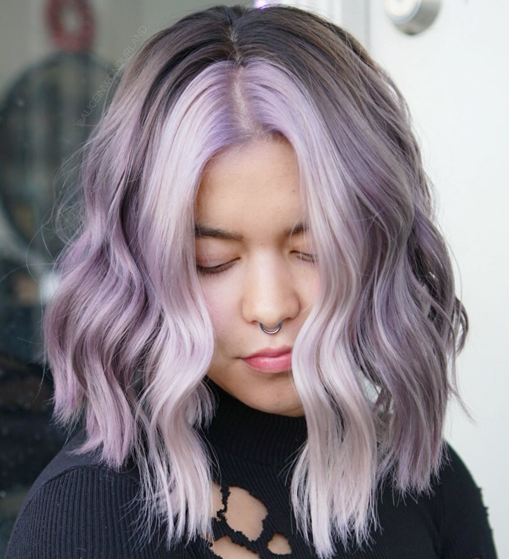Medium Length Gray and Purple Hair