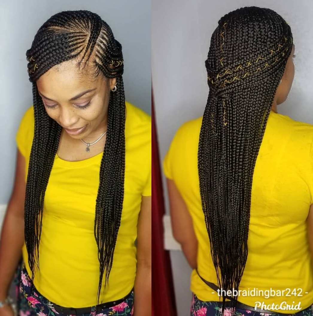 Side-Parted Cornrow Scalp Braids