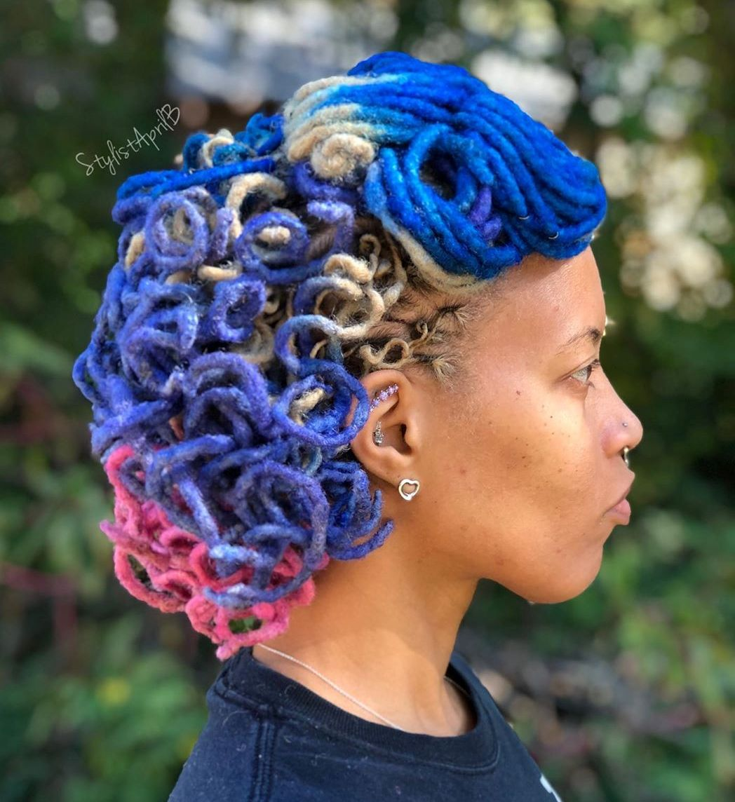 Bright Colored Locs Updo
