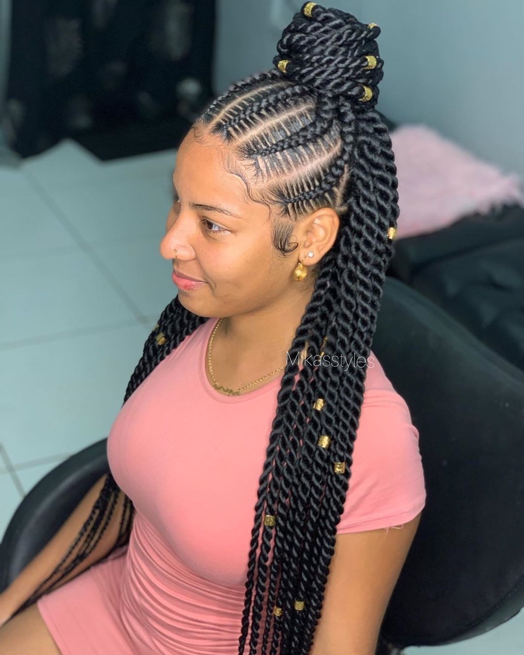 Half-Up Twist Cornrows
