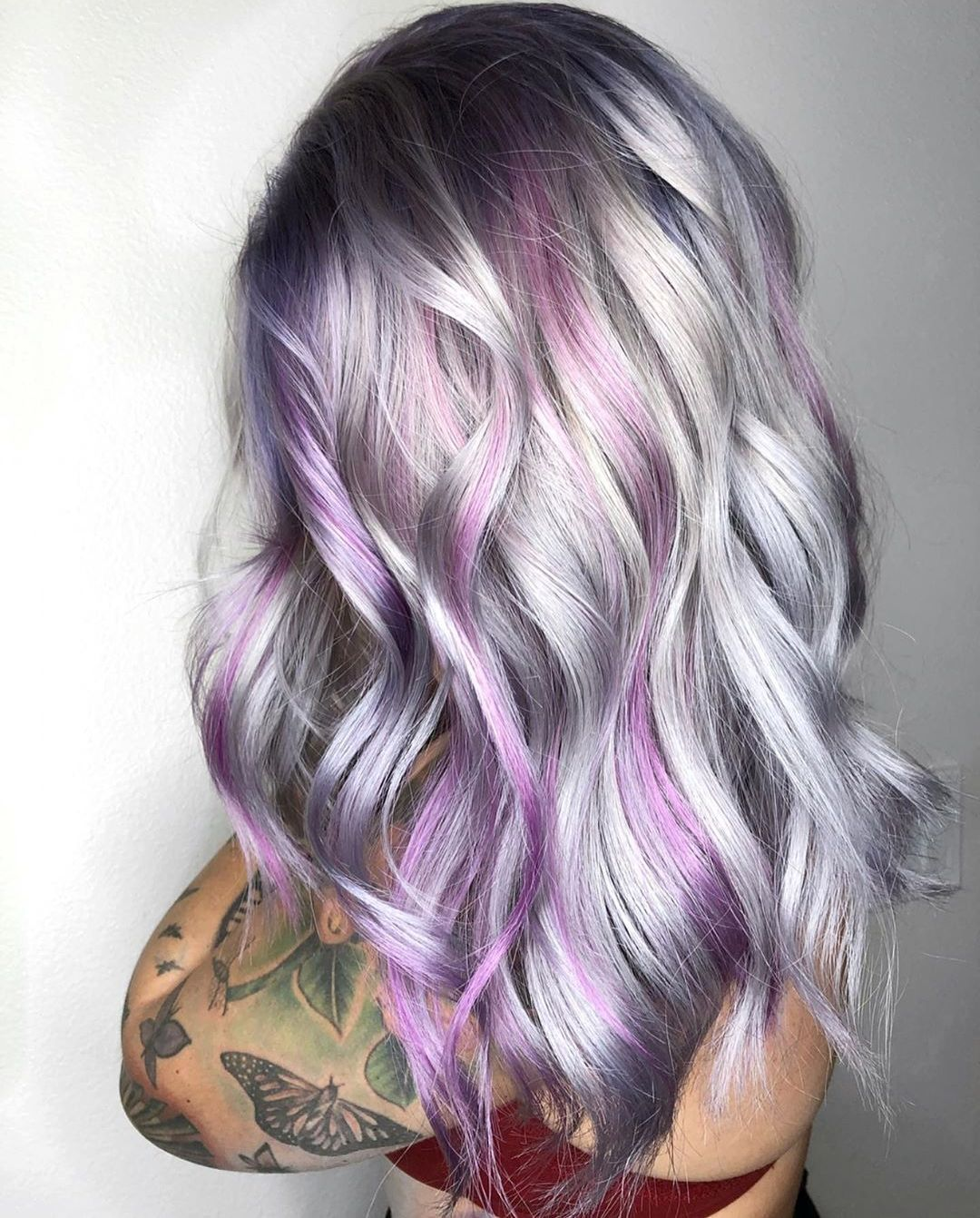 Silver Hair with Purple Streaks