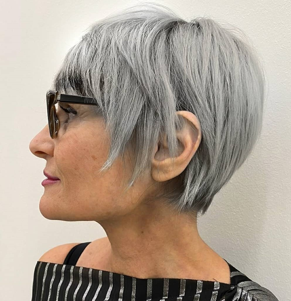 Long Silver Pixie with Short Bangs