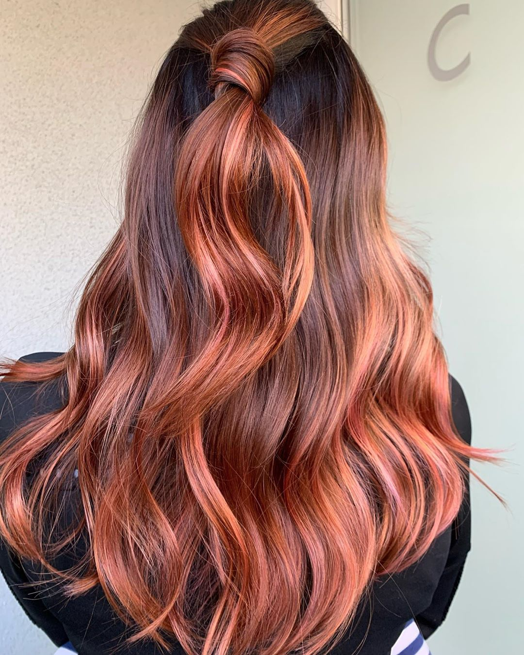 Rose Gold and Red Balayage Highlights
