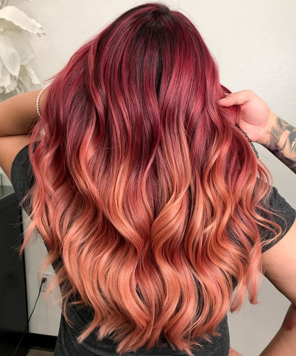 Red Balayage with Rose Gold Ends