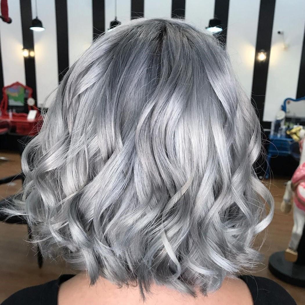 Silver Hair Color for Bob-Length Hair