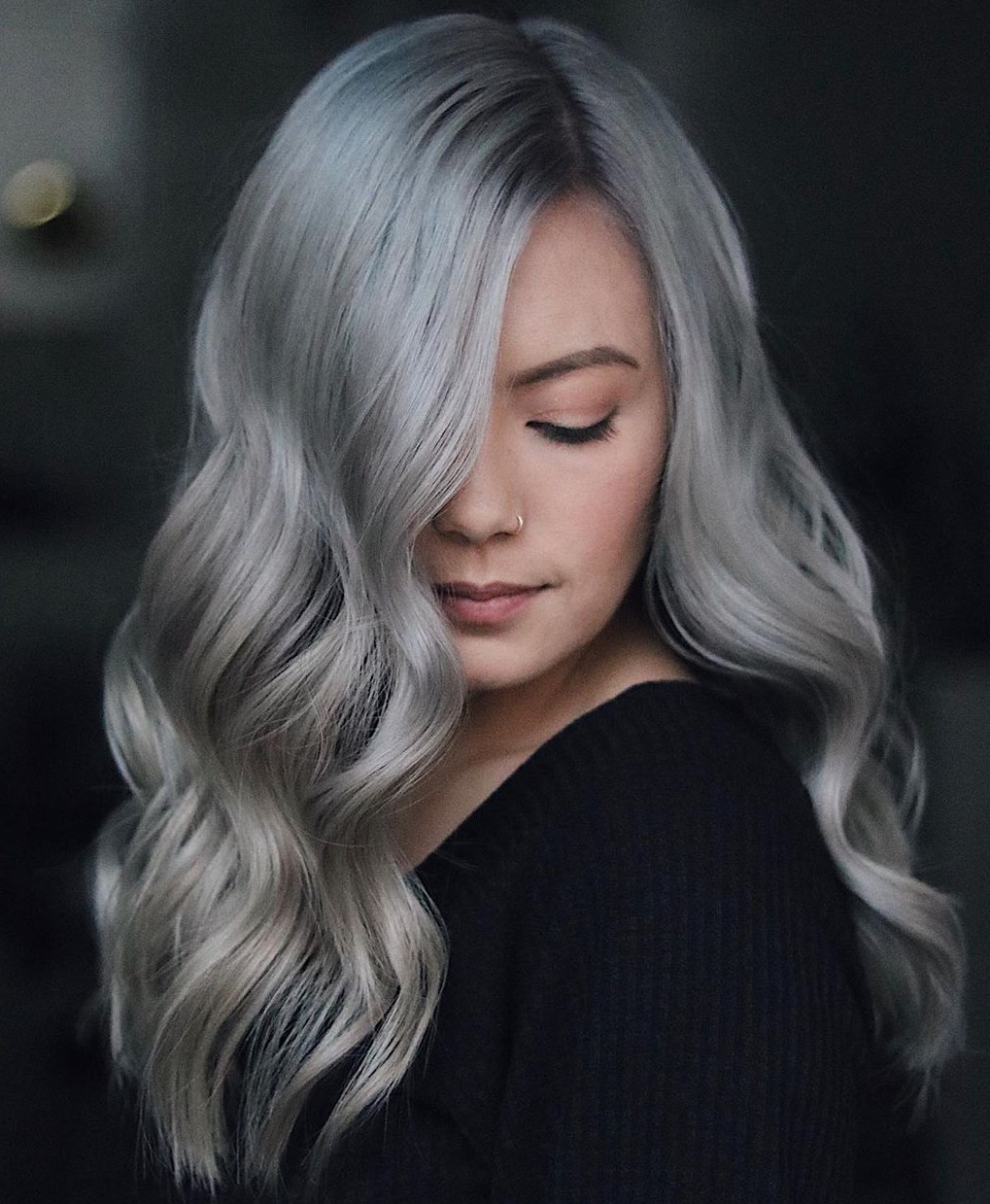Blue-Tinted Silver Balayage Hair