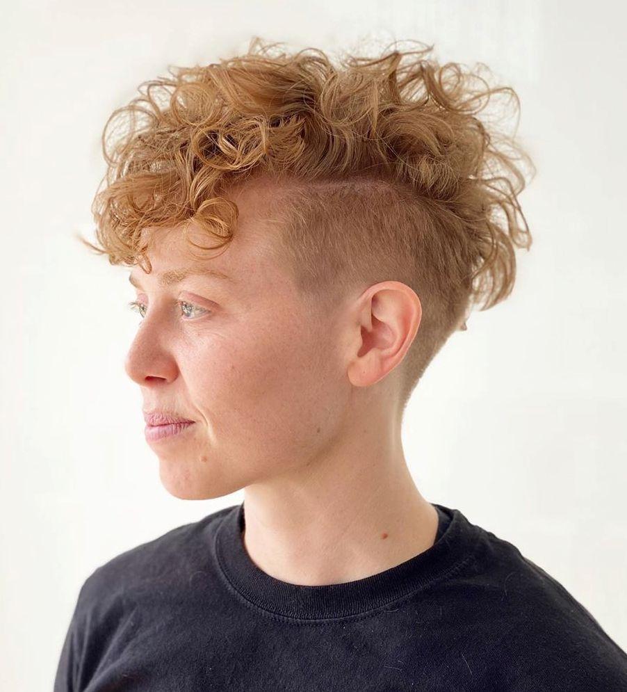 Undercut Curly Blonde Hair