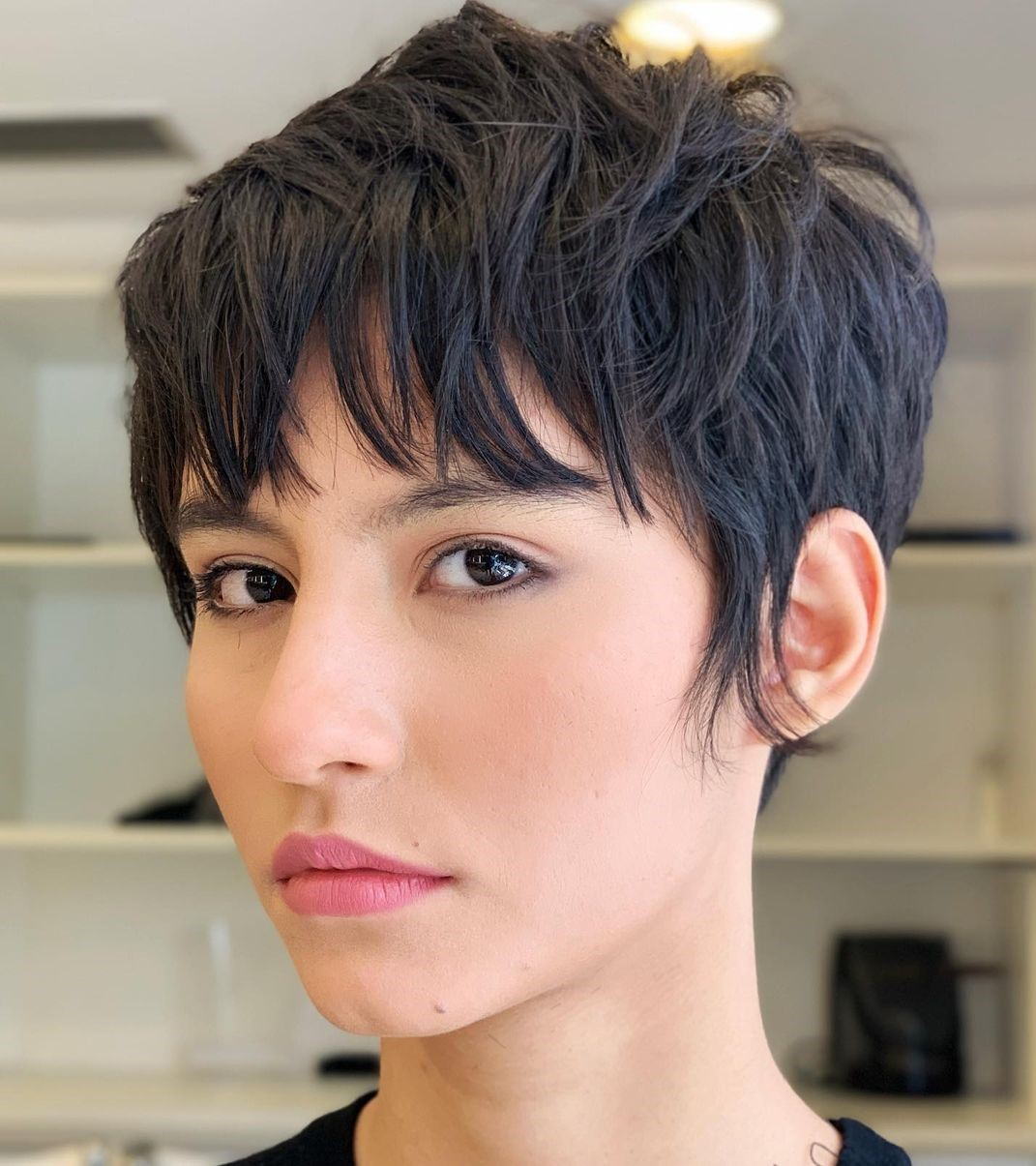 Short Sliced Pixie with Bangs
