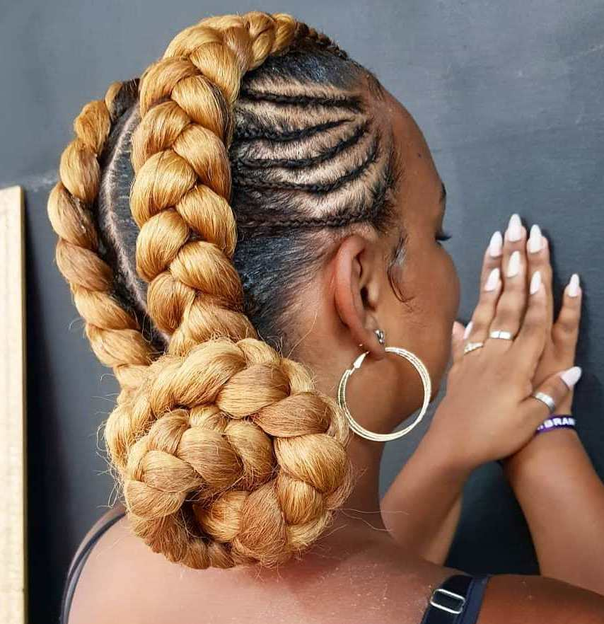 Two Chunky Cornrow Goddess Braids