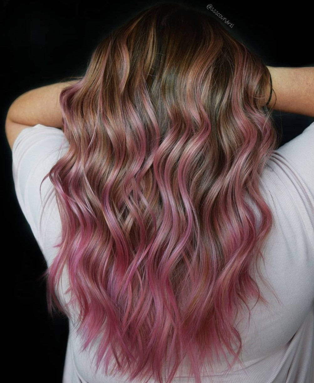 Pale Rose Gold Highlights for Brown Hair