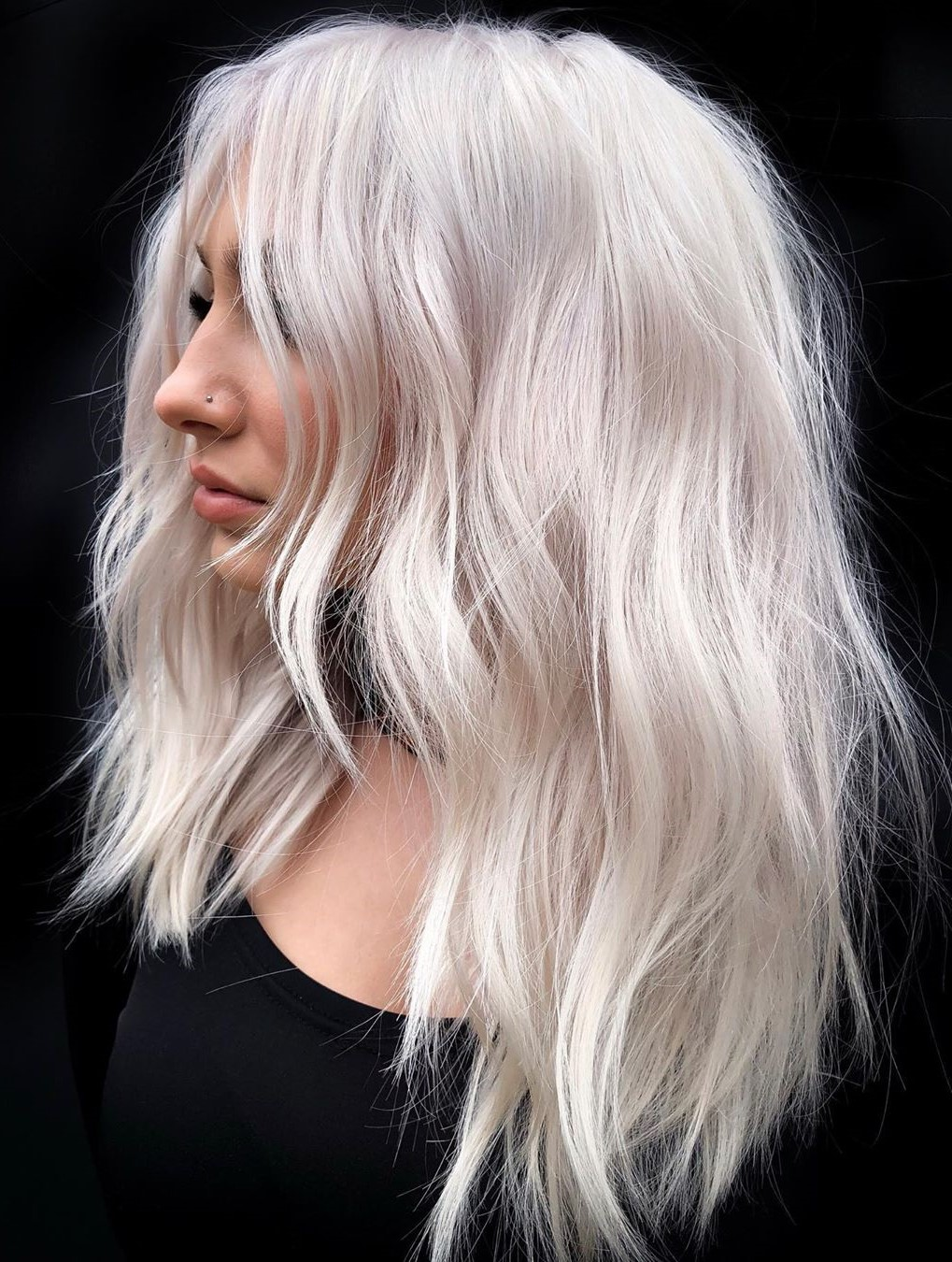 Solid Platinum Blonde Hair Color