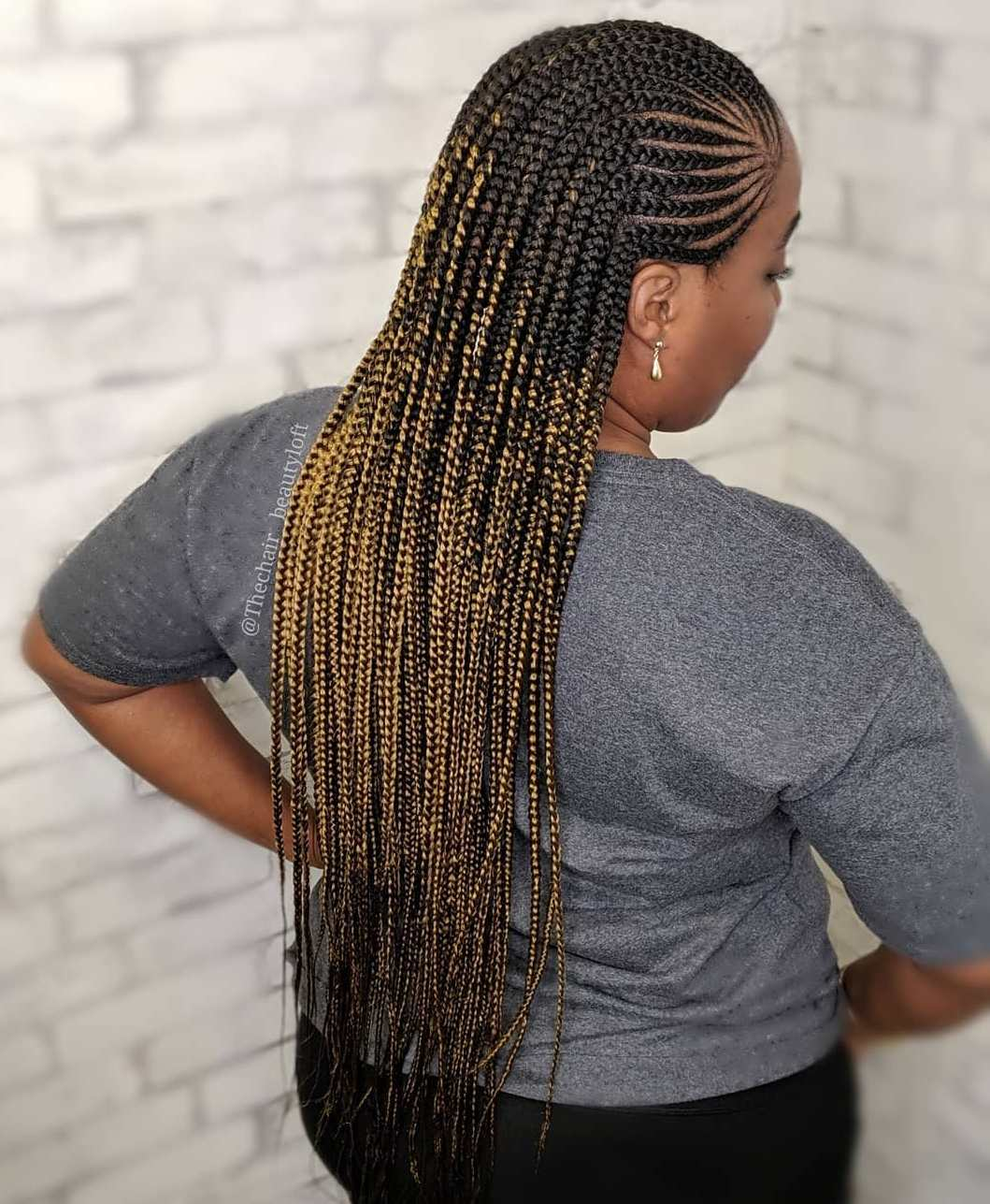 Long Side Lemonade Braids with Ombre