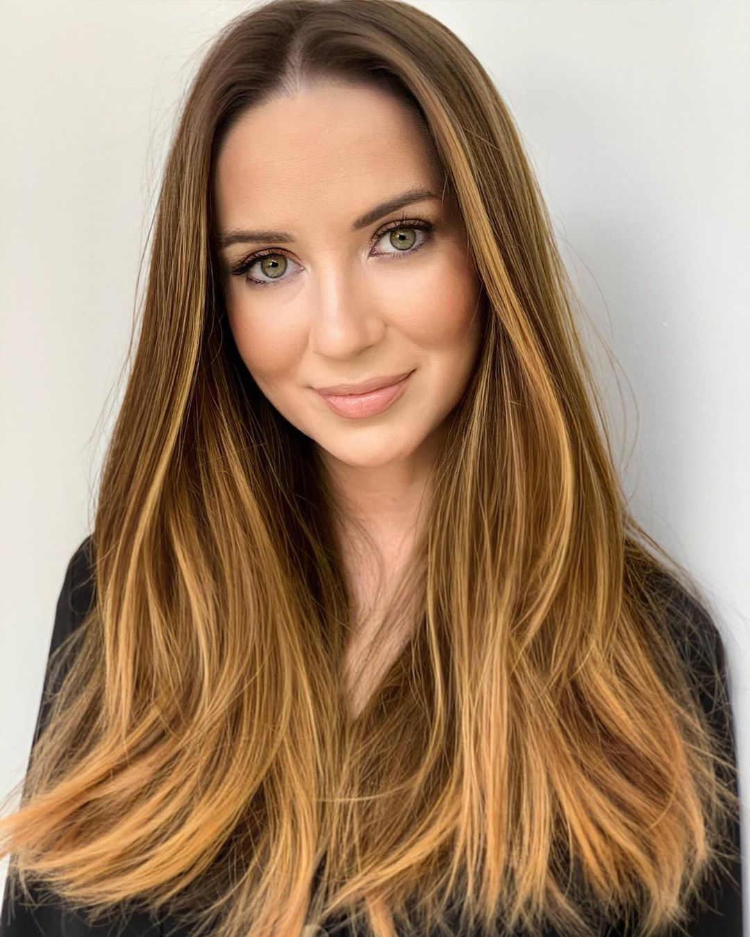Long Brown Hair with Strawberry Blonde Highlights