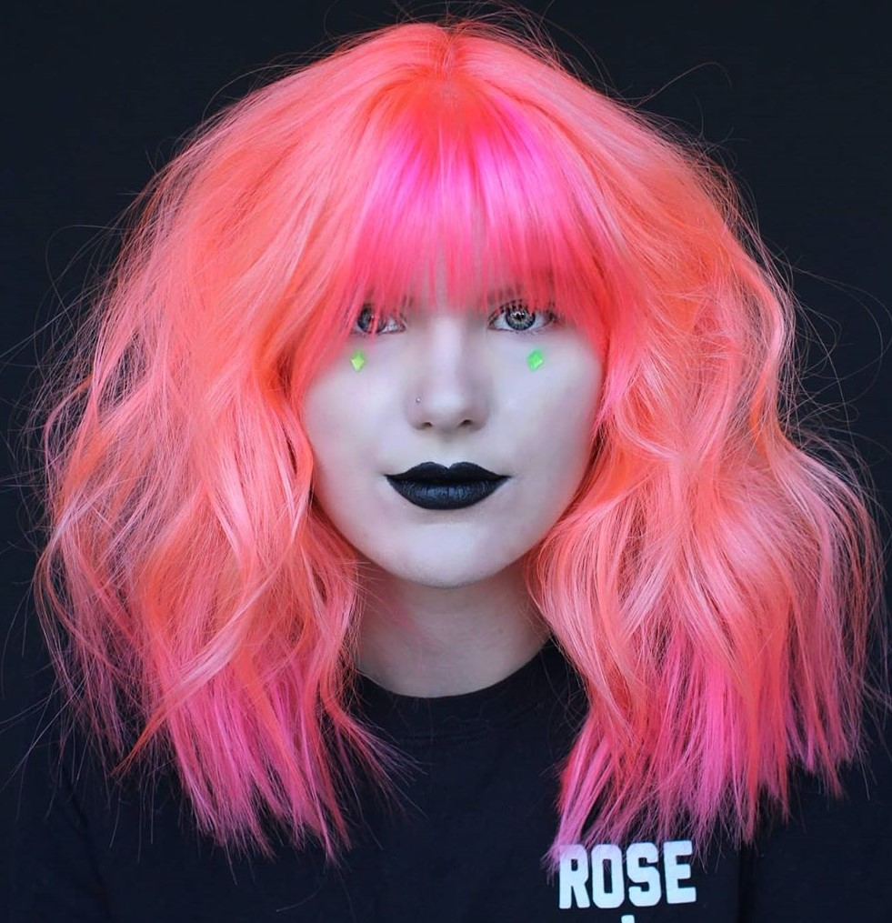Bright Neon Pink Hair Color