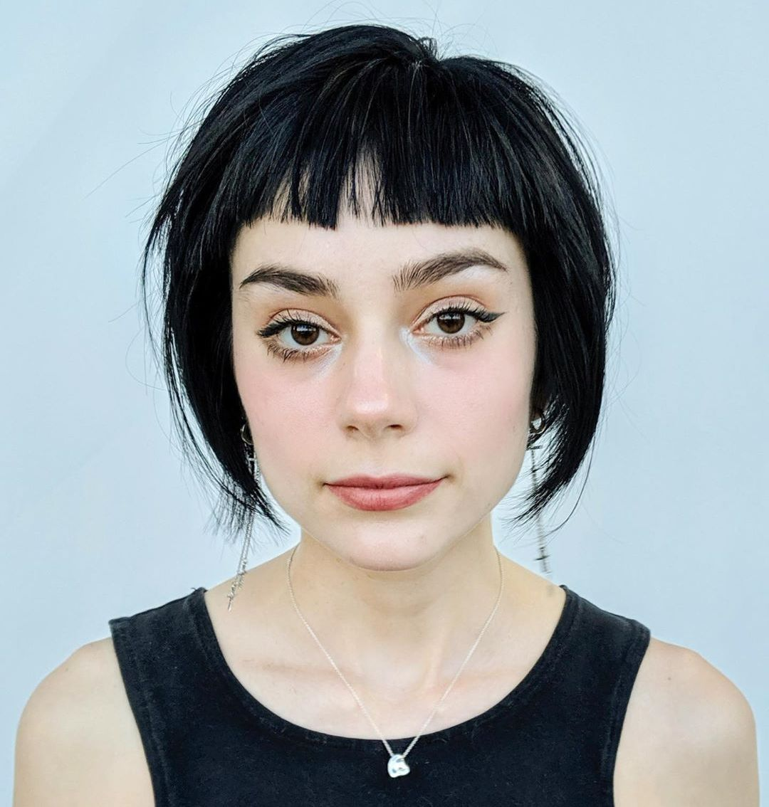 Short Blunt Bangs for Round Faces