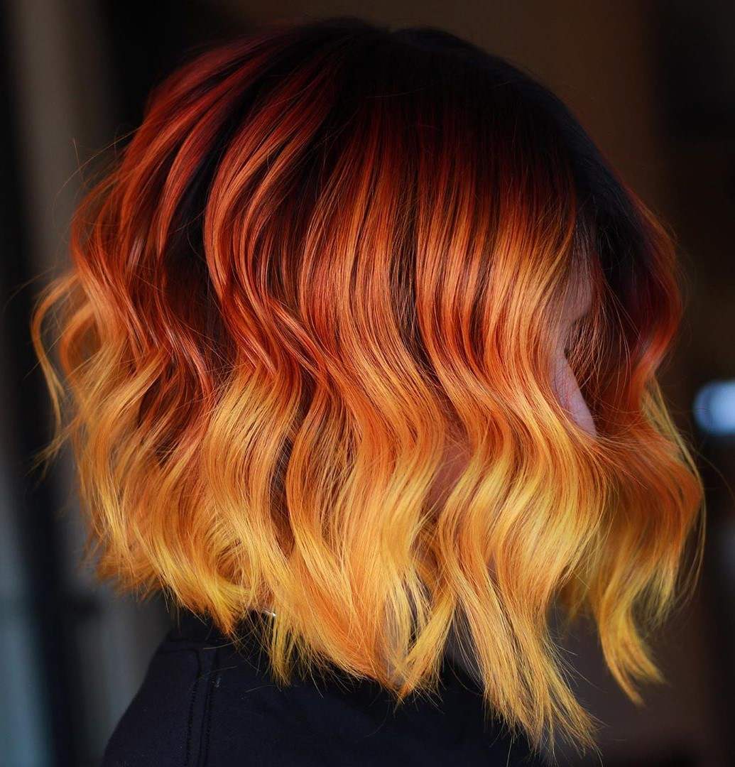 Bright Orange Highlights for Black Hair