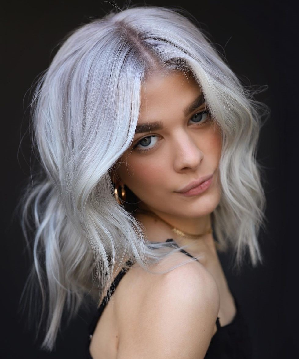 Medium Length Platinum Blonde Hair