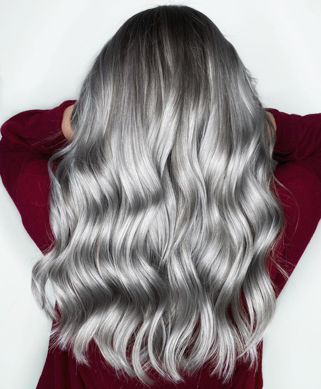 Long Metallic Platinum Hair