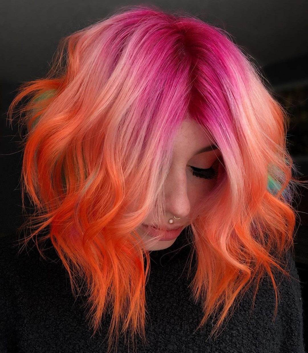 Pink Hair Roots and Orange Ends
