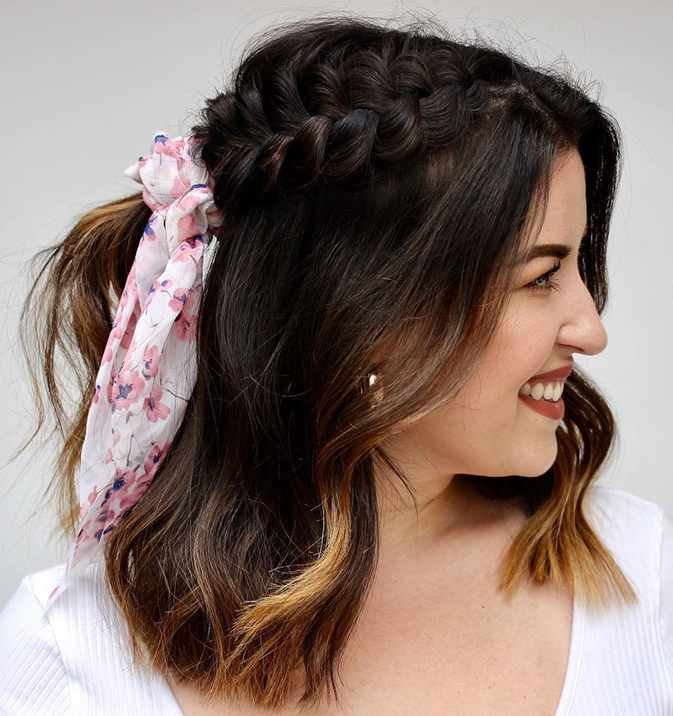 Medium Half-Up Hairstyle with a Dutch Braid