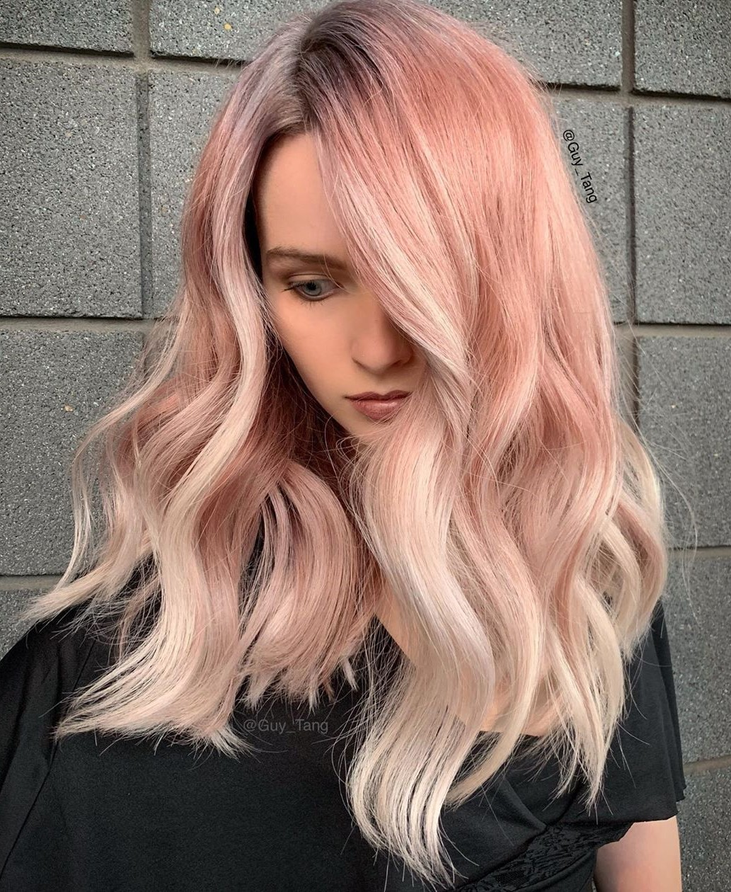 Rose Gold Hair with Platinum Color Highlights