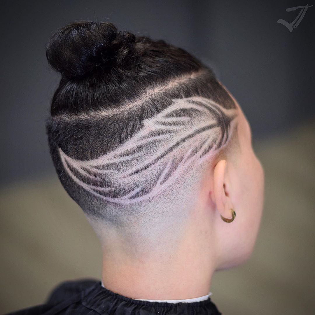 Side Shaved Cut with a Leaf Design