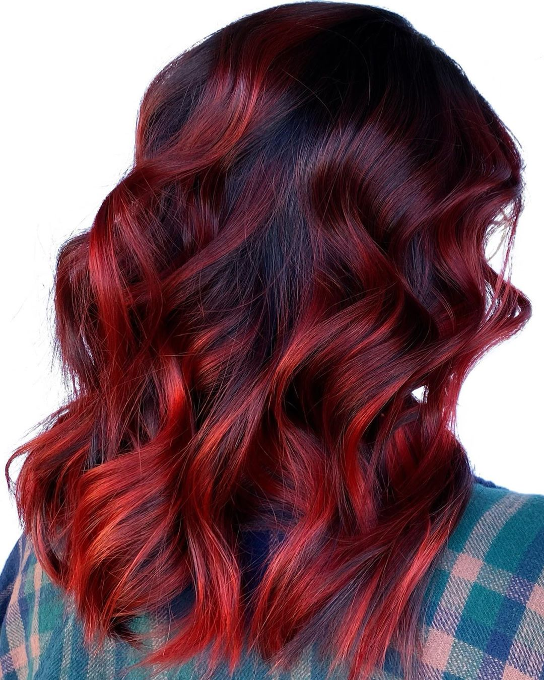 Red Balayage Highlights for Black Hair
