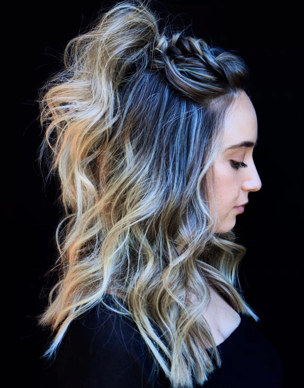 Medium Length Hair with a Half-Up Braid