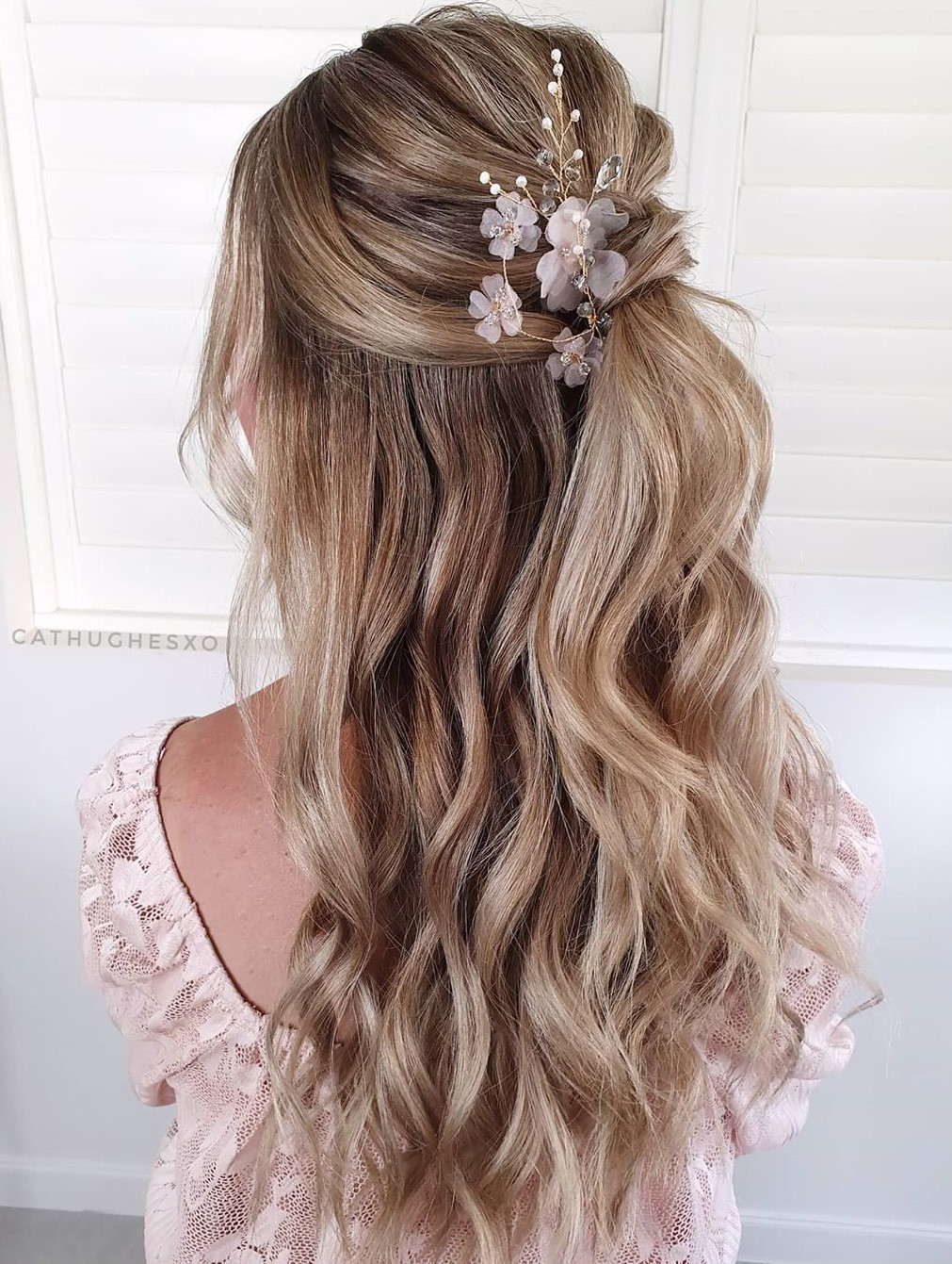Easy Wedding Half-Up Hairstyle with Flowers