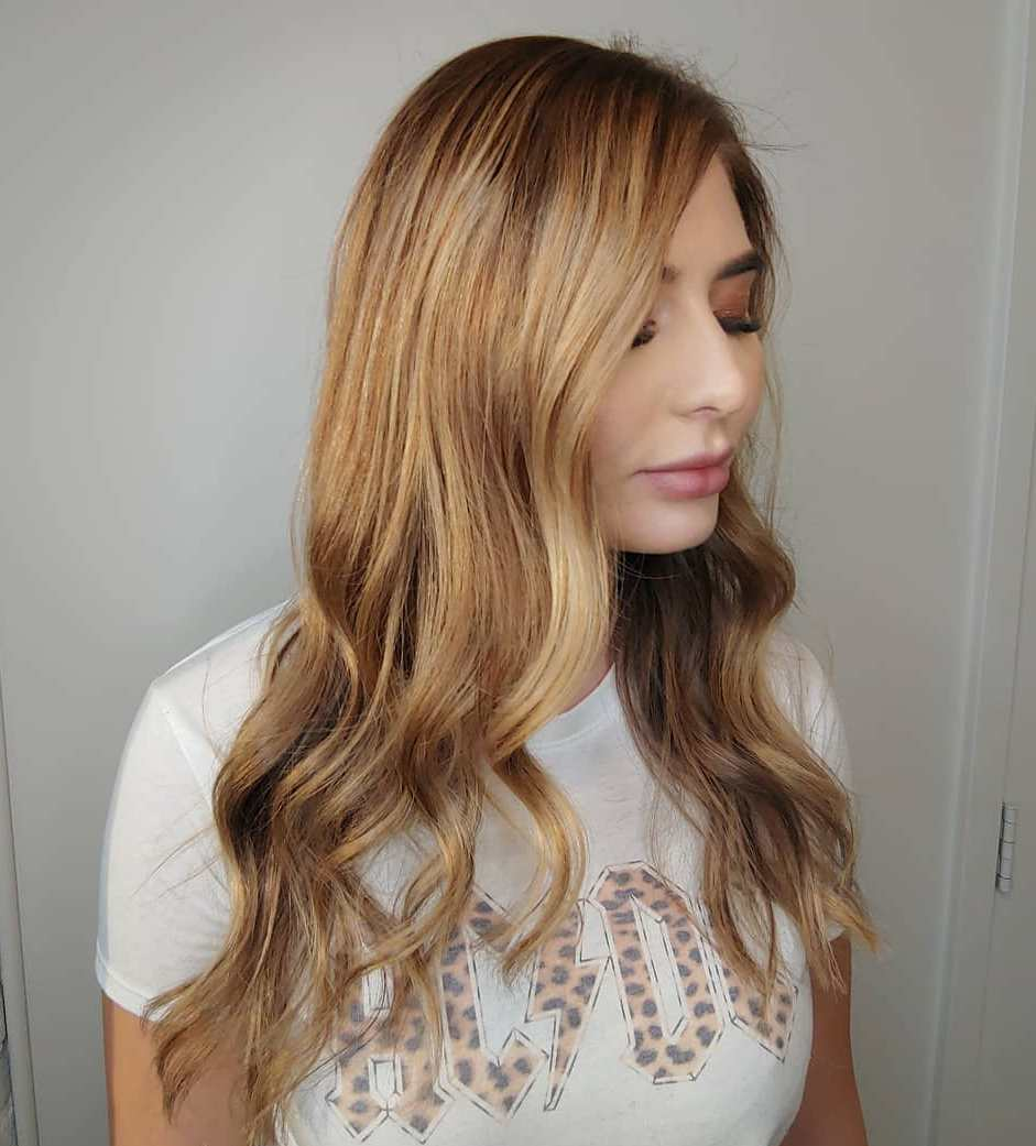 Long Brown Blonde Hair with Strawberry Highlights