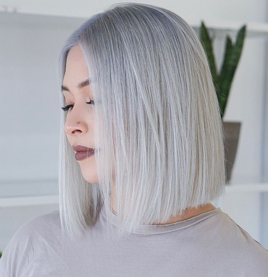 Silver Blonde and Platinum Balayage Bob