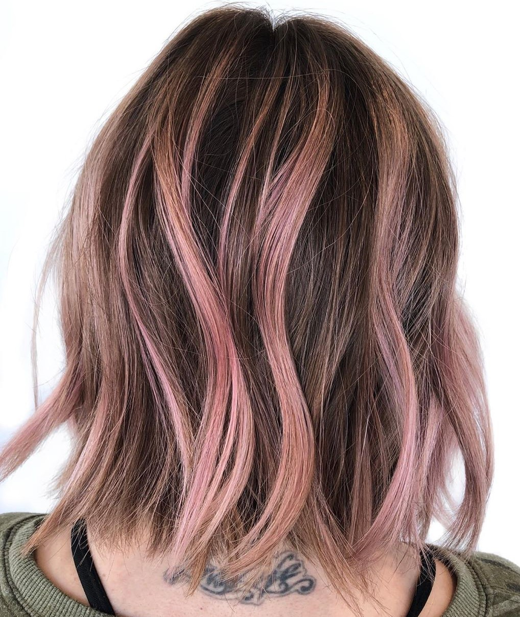 Subtle Pink Streaks for Brown Hair