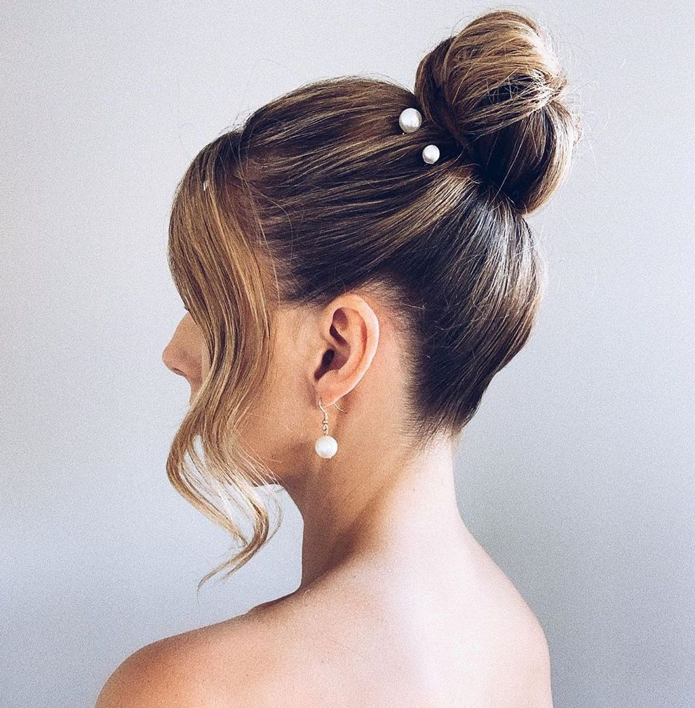 High Bun Prom Updo for Short Hair