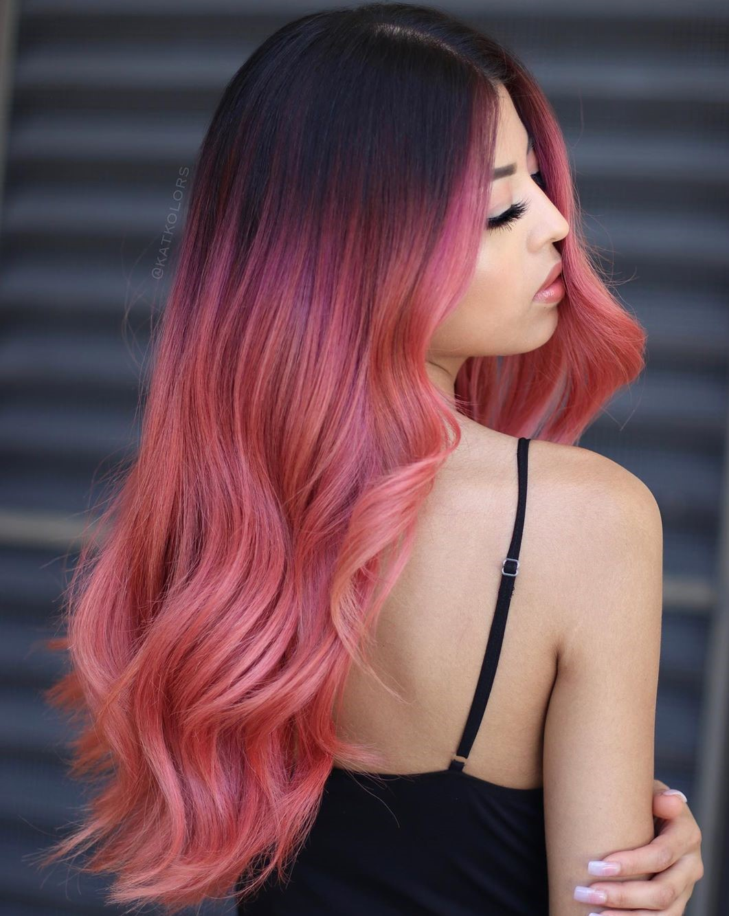 Rose Pink Balayage for Dark Hair